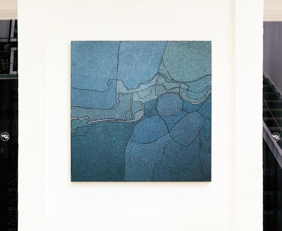 Sans titre grand bleu clair - Tableau - Marjolaine de La Chapelle
