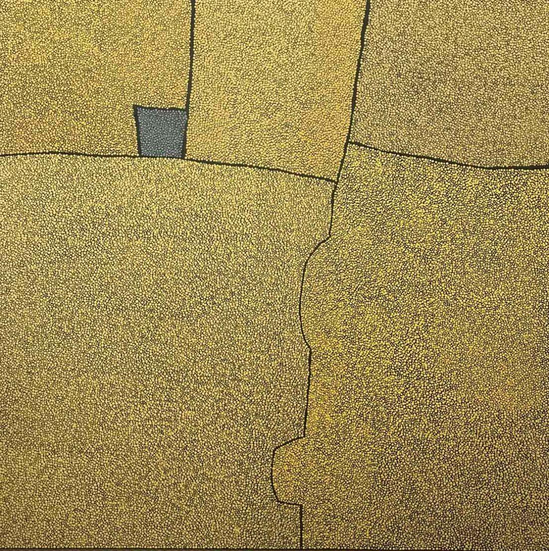 Sans titre grand jaune carré gris - Tableau - Marjolaine de La Chapelle