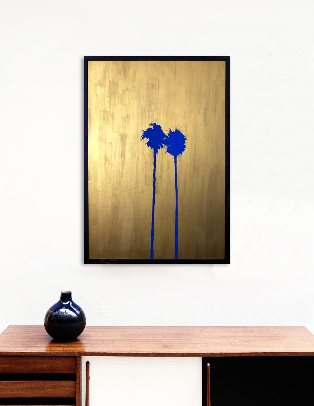 Giant palmtrees IV bleu- Tableau- Hubert Jouzeau