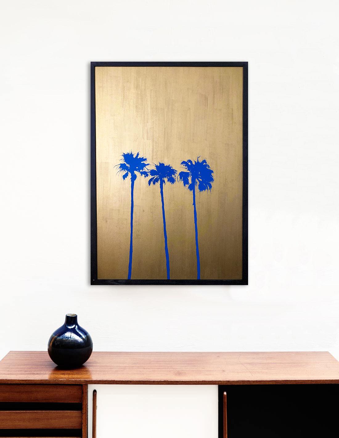 Giant palmtrees III bleu- Tableau- Hubert Jouzeau