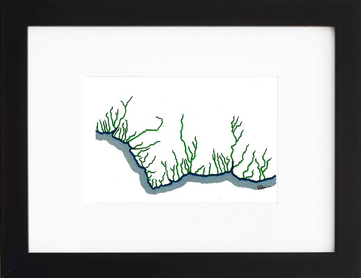 Baptiste Penin - Tableau couture - Sans titre au rivière verte