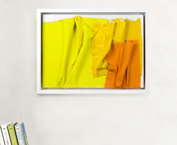 Raquel Levy - Tableau - Papiers froissés jaunes