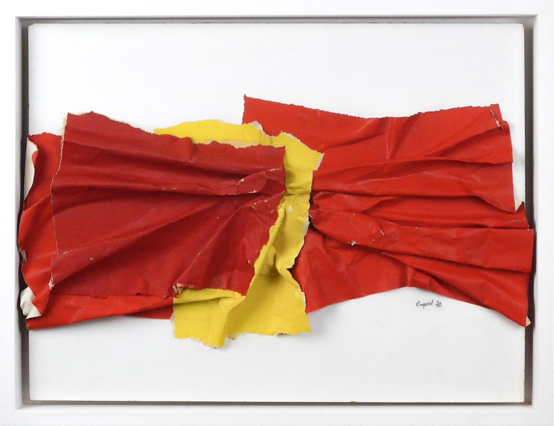 Raquel Levy - Tableau - Papiers froissés rouge et jaune