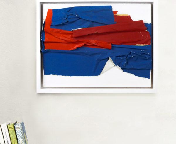 Raquel Levy - Tableau - Papiers froissés bleu et rouge