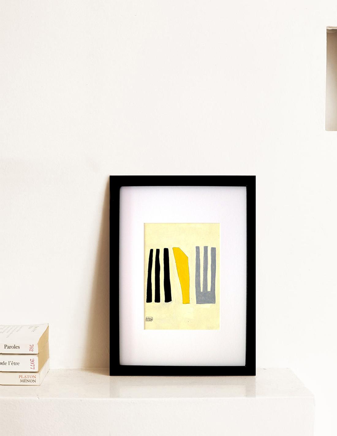 Oeuvre sur papier - Virginie Hucher - Composition 50 jaune