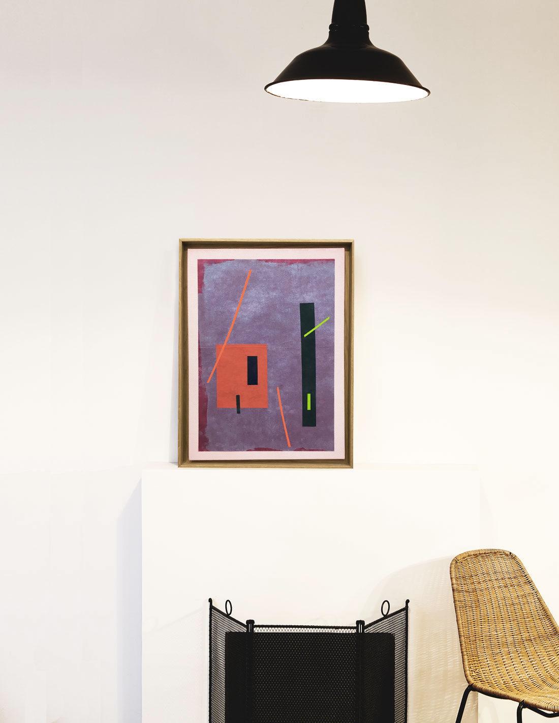 Carlos Stoffel - Sans titre (rose, carré orange et barre verte)