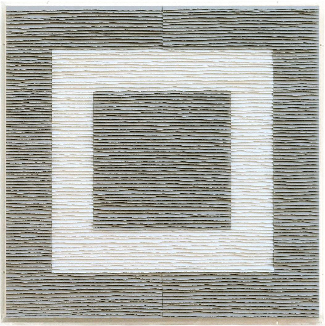 Fernando Daza - Oeuvre sur papier - Structure carrée noire et blanche sur fond gris