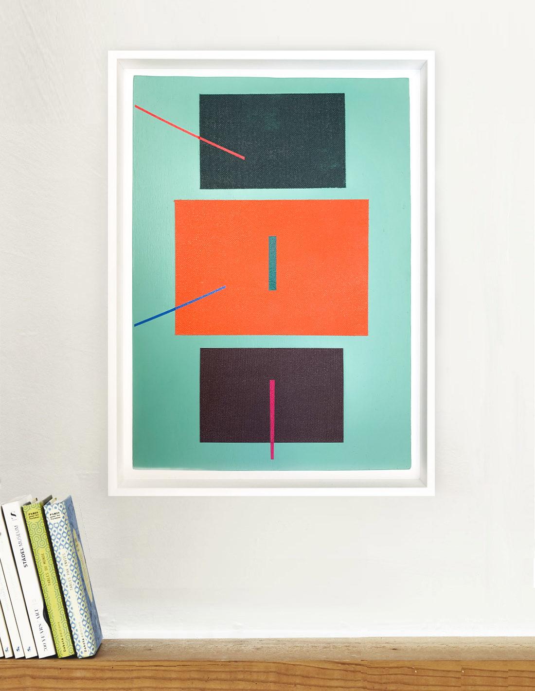 Carlos Stoffel - Sans Titre Turquoise Diagonale Rouge- Insitu