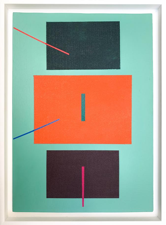 Carlos Stoffel - Sans Titre Turquoise Diagonale Rouge- Packshot