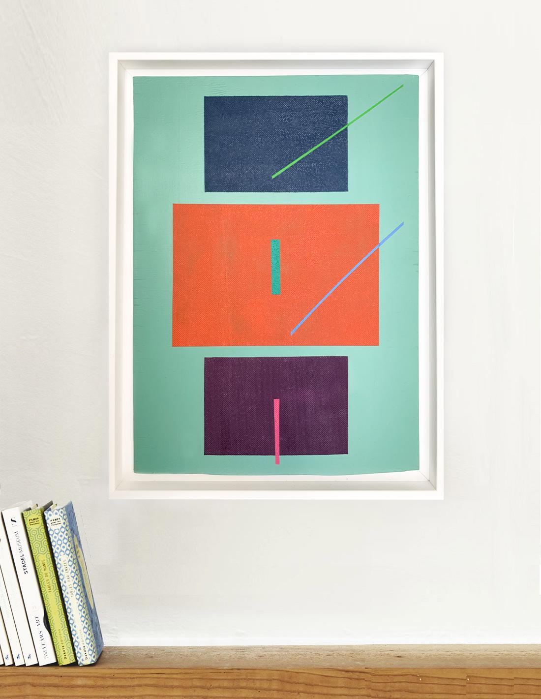 Carlos Stoffel - Sans Titre Turquoise Diagonale Verte- Insitu
