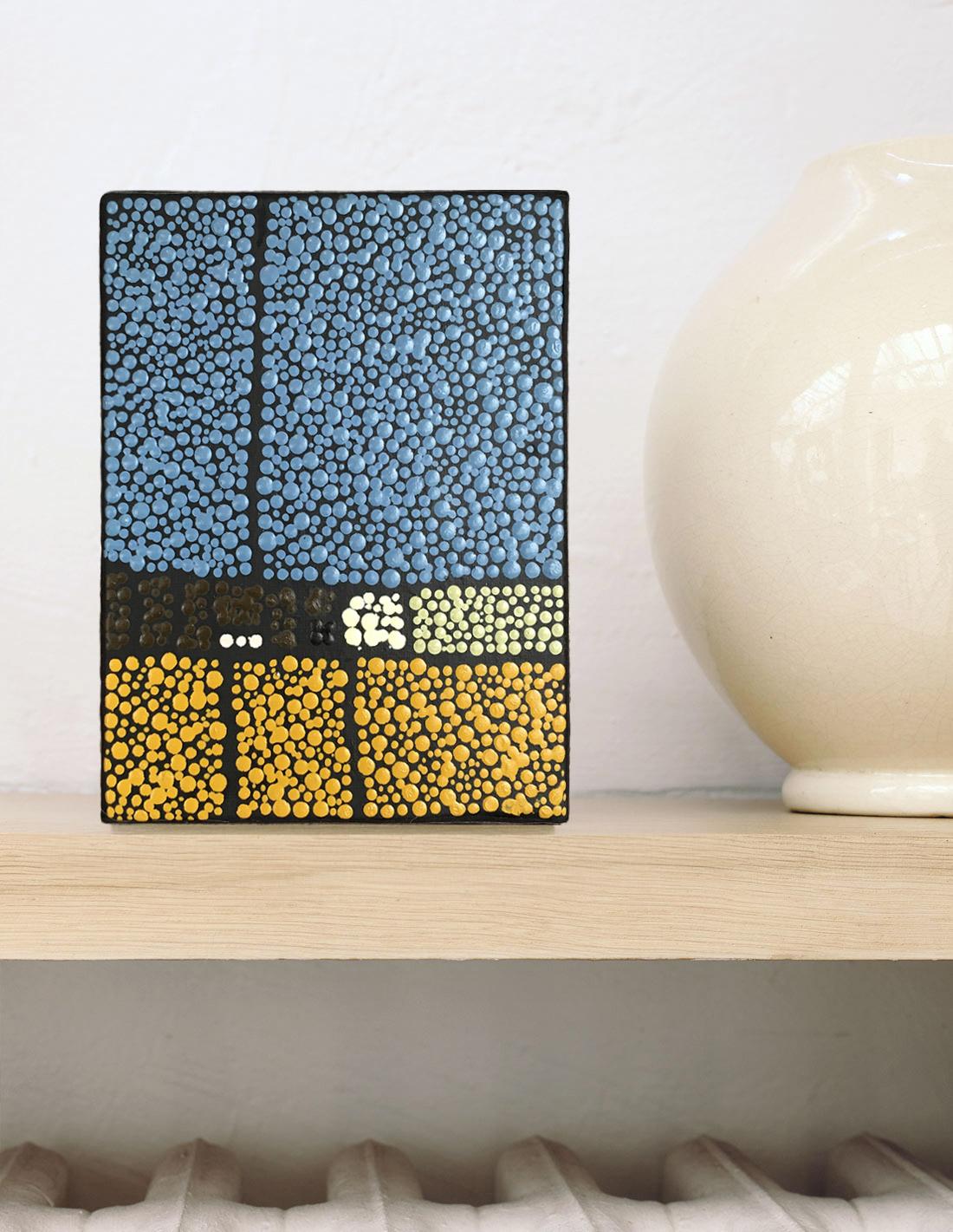 Marjolaine de La Chapelle - Tableau mini format bleu et jaune
