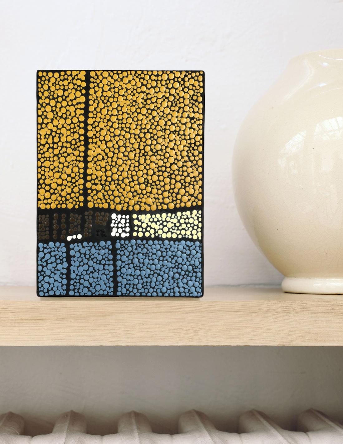Marjolaine de La Chapelle - Tableau mini format jaune et bleu