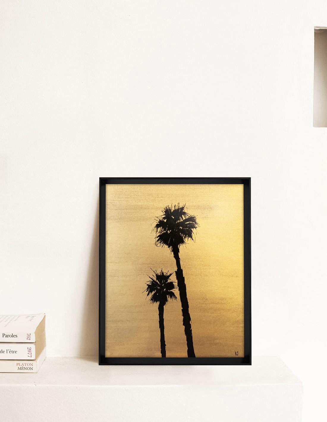 Hubert Jouzeau - Tableau - Palmtrees avec pigments dorés