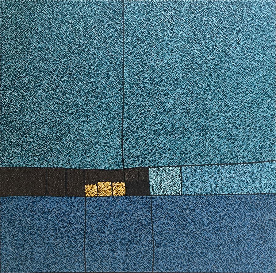Marjolaine de La Chapelle - Sans titre grand bleu et marron