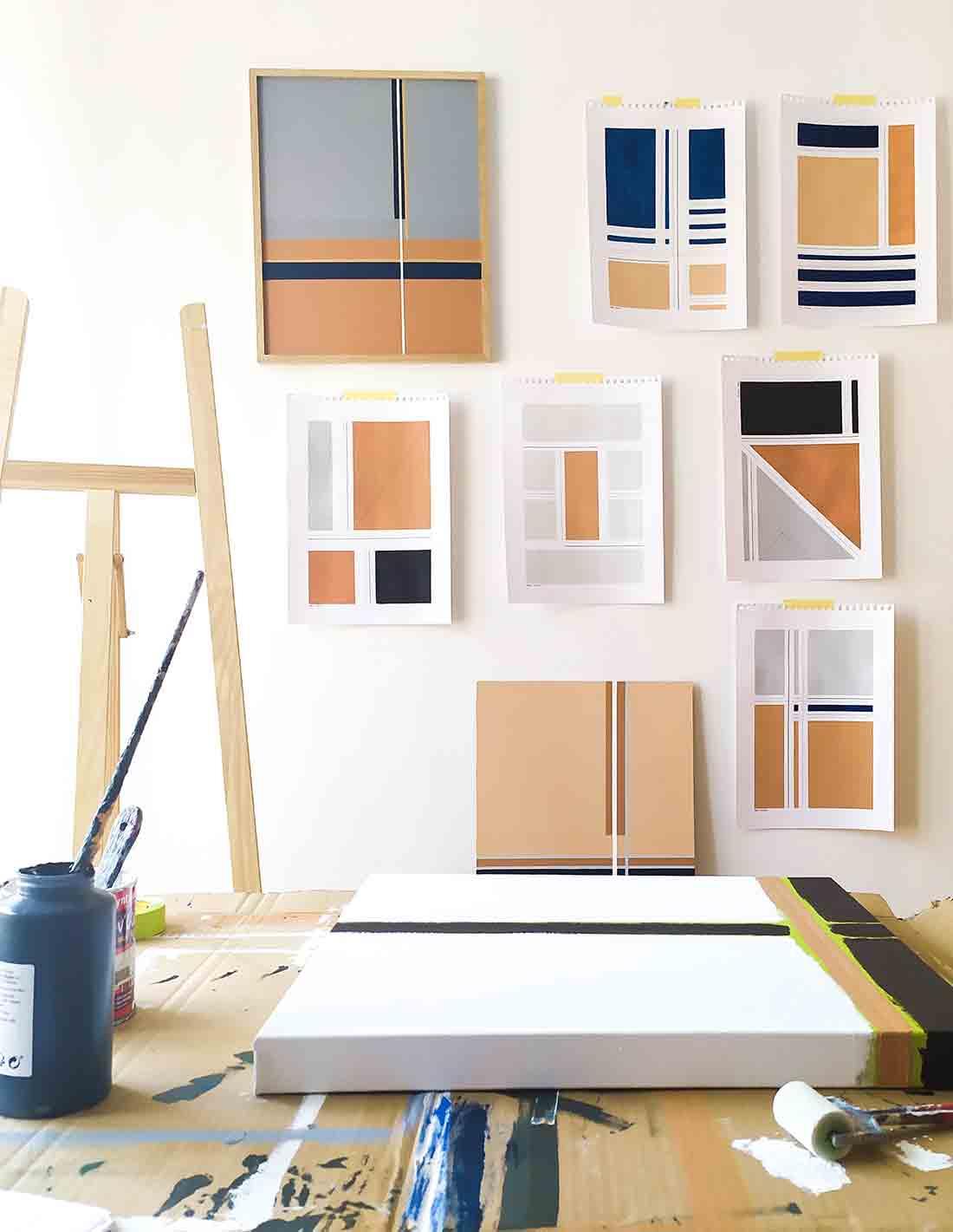 Marie Amedro - Oeuvre sur papier - Intersection sur papier n°5